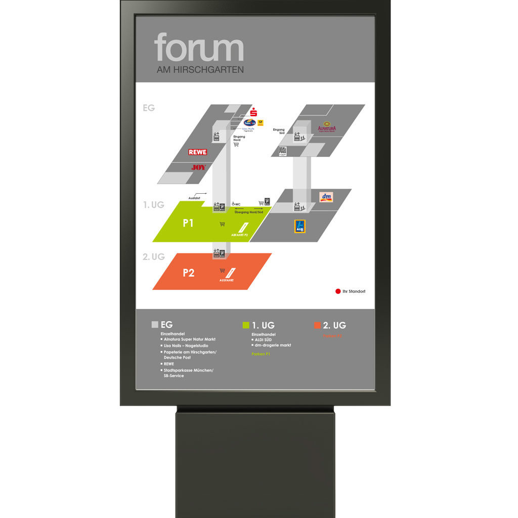Wegeleitsystem Forum am Hirschgarten