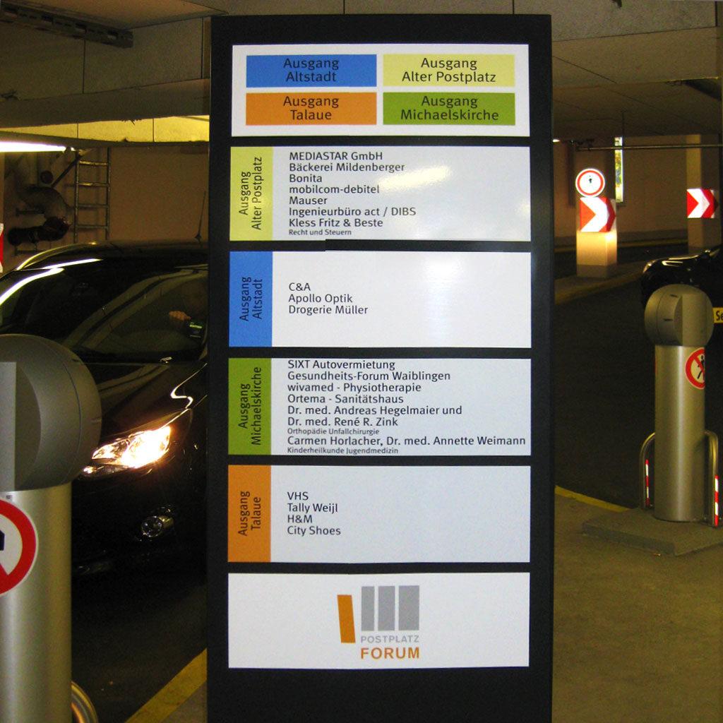 Kundenleitsystem Postplatz Forum Waiblingen